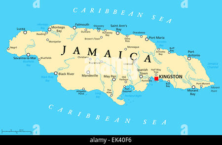Jamaica Political Map with capital Kingston, important cities and rivers. English labeling and scaling. Illustration. - Stock Photo