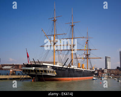 The historic Victorian warship HMS Warrior, in Portsmouth historic dockyard, Hampshire, England - Stock Photo