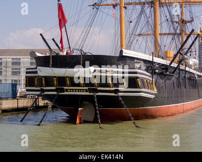 The stern of historic Victorian warship HMS Warrior, in Portsmouth historic dockyard, Hampshire, England - Stock Photo