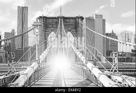 Brooklyn Bridge in New York City, old black and white film style, USA. - Stock Photo