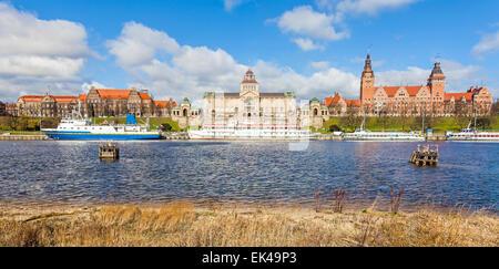 Panoramic view of Szczecin waterfront, Poland. - Stock Photo