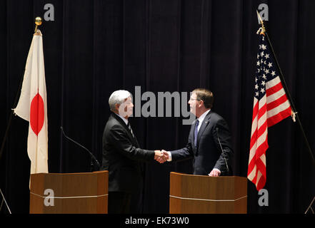 Tokyo, Japan. 8th Apr, 2015. U.S. Defense Secretary Ash Carter (R)and Japan's Defense Minister Gen Nakatani (R) - Stock Photo