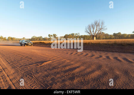 Red dust and corrugation on the Gibb River Road, Kimberley, Outback, Western Australia, WA, Australia - Stock Photo