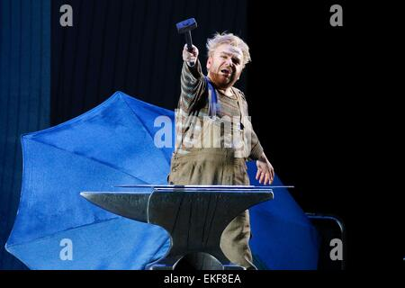 Leipzig, Germany. 7th April, 2015. , Christian Franz performs as Siegfried in the final dress rehearsal of Richard - Stock Photo