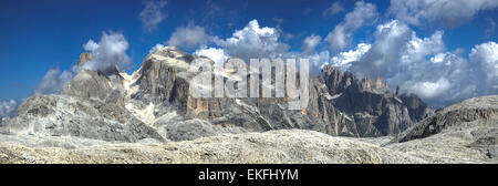 panoramic view from the magnificent plateau of the Pale di San Martino, Dolomites - Stock Photo
