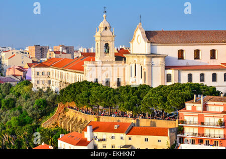 Lisbon, Portugal. Alfama district of Lisbon, one of the oldest in the capital of Portugal, Convent of the Grace. - Stock Photo