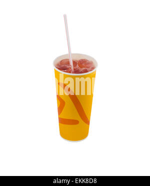 Berry Juice in a paper cup with ice and straw on an isolated background - Stock Photo