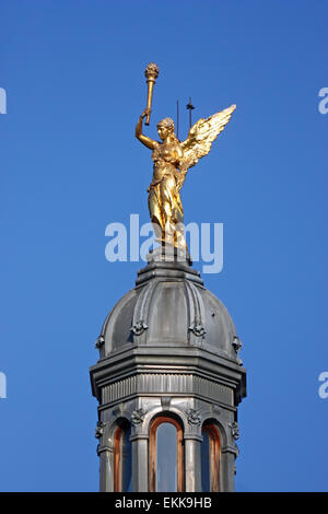 Angel of enlightenment, statue on top of the building on King Tomislav Square - Stock Photo