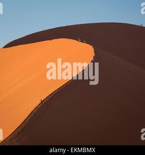 Visitors climbing sand dune 45 near Sossusvlei in Namib-Naukluft National Park Botswana - Stock Photo