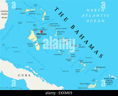 The Bahamas Political Map with capital Nassau, important cities and places. English labeling and scaling. Illustration. - Stock Photo