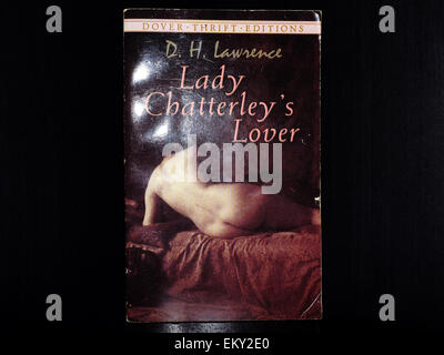 The front cover of Lady Chatterley's Lover by D. H. Lawrence photographed against a black background. - Stock Photo