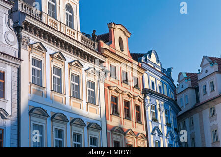 Colourful houses on Old Town Square Prague Czech Republic - Stock Photo