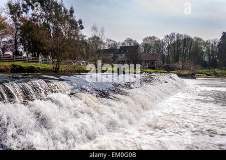 Bathampton Mill and weir on River Avon at Bathampton - Stock Photo