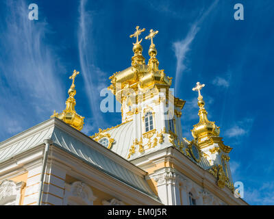 Imperial Chapel of the Peterhof Palace, the Church of Saints Peter and Paul, Saint Petersburg, Russia. - Stock Photo
