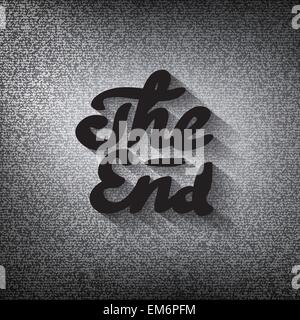 Old movie ending screen, stylized noir 'The End' lettering - Stock Photo