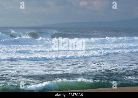 Breaking waves at Moss Landing State Beach, Moss Landing; Monterey Bay, California, United States of America - Stock Photo