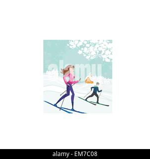 couple moves to skiing - Stock Photo