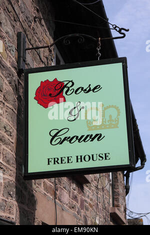 Hay on Wye Powys the Rose and Crown free house pub inn sign - Stock Photo