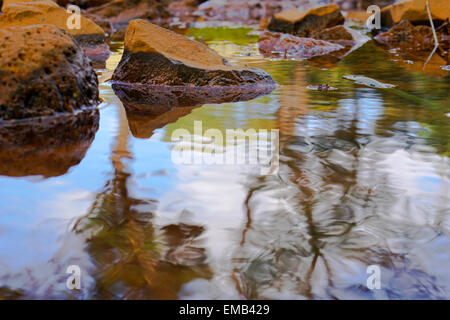 Rocks in water with colorful reflections of sky and trees. - Stock Photo
