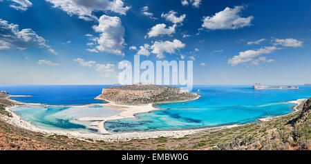The unbelievable beauty of Balos Lagoon with Cap Tigani in Crete, Greece - Stock Photo
