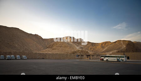 Kings Valley bus parking area, Luxor, Egypt - Stock Photo