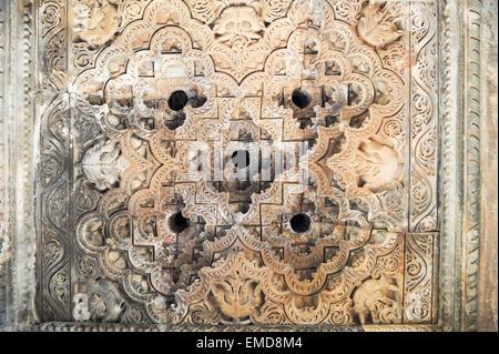 Detail of artwork at the Khajuraho temple on India - Stock Photo