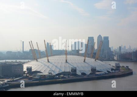 The O2 Arena on the Greenwich Peninsular at Dockland, London, England. Slightly hazy. - Stock Photo