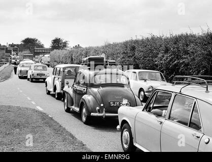 Busy scenes on the Exeter by pass as holidaymakers head for the South Coast. 3rd September 1969. - Stock Photo