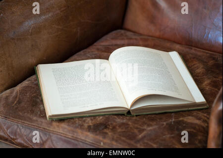 An old book left open on the seat of a worn leather armchair - Stock Photo