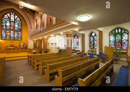 UK, Cumbria, Workington, St Michael's Parish Church interior rebuilt after fire - Stock Photo