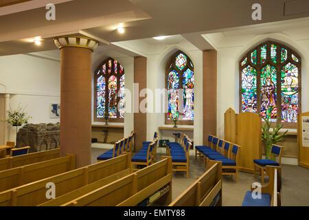 UK, Cumbria, Workington, St Michael's Church interior rebuilt after fire, east windows - Stock Photo