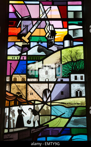 UK, Cumbria, Workington, St Michael's Church, detail of the Workington Window - Stock Photo