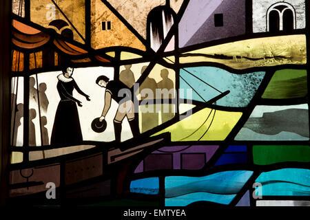 UK, Cumbria, Workington, St Michael's Church, Workington Window showing Mary Queen of Scots - Stock Photo