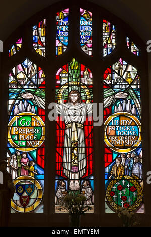 UK, Cumbria, Workington, St Michael's Church, Remembrance Window by  Roy Comber - Stock Photo