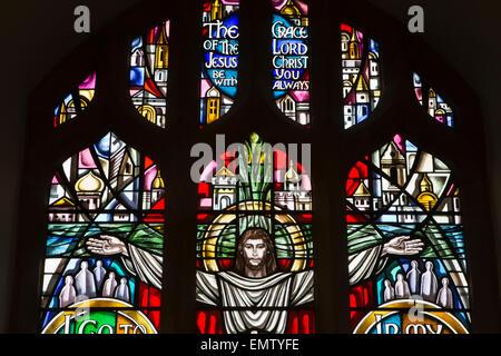 UK, Cumbria, Workington, St Michael's Church, Remembrance Window crucifixion detail - Stock Photo