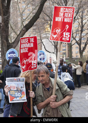 Various unions, fast food workers, home healthcare providers & others rallied in NY City for a $15 living minimum - Stock Photo