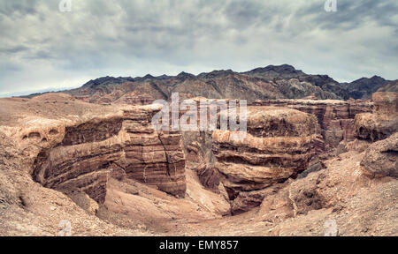 Charyn grand canyon at overcast sky in Kazakhstan - Stock Photo