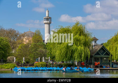 The Regents Park Boating Lake and London Central Mosque, London, England UK - Stock Photo