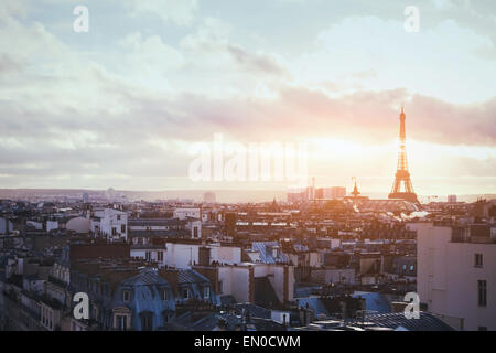 beautiful view of Paris, France, Eiffel tower at sunset - Stock Photo
