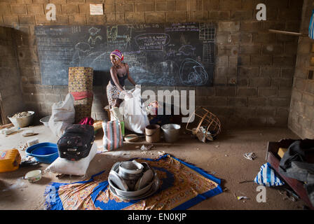 Muslims who have been displaced by violence have taken refuge in a school in Bossangoa in Central African Republic - Stock Photo
