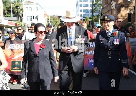 Sydney, Australia. 25 April 2015. Pictured is Lord Mayor Clover Moore and Governor of New South Wales David Hurley - Stock Photo