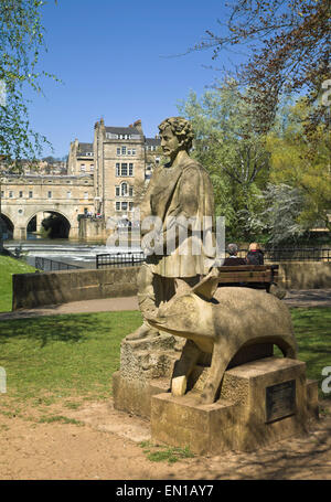 Bath Somerset England UK  Bladud and his pig in Parade Gardens Park with pulteney bridge and  river Avon - Stock Photo