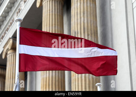 Latvian flag.Riga,Latvia,Europe - Stock Photo