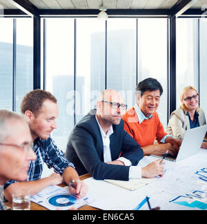 Group Of Business People Working In A Board Room Having A Meeting - Stock Photo