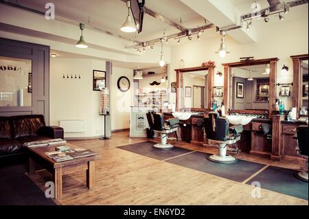 Men's barber shop, retro styled interior design - Stock Photo