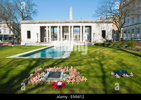 War Memorial and garden in Lord Street, Southport, Merseyside - Stock Photo