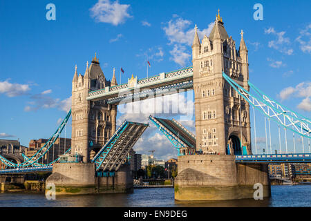 Tower Bridge 'open' over the River Thames in London. - Stock Photo