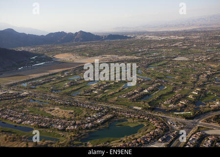 Aerial views of all the golf courses using scarce water supplies to  maintain their lush green look in drought conditions - Stock Photo