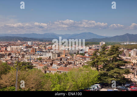 A view over the modern city of Girona, Catalonia, Spain. - Stock Photo