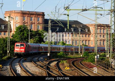Railway in Palace Garden, Mannheim, Baden-Wurttemberg, Germany - Stock Photo